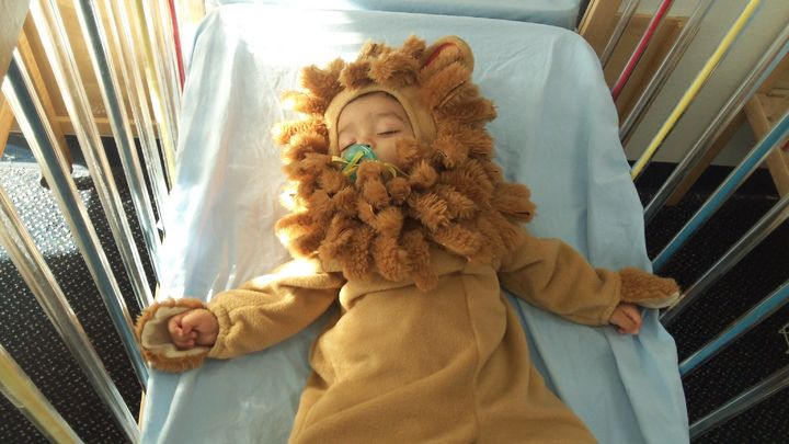 Halloween made this little lion sleepy
